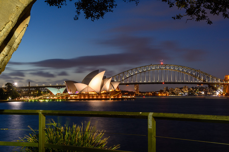 Opera House at Bridge in Early Evening