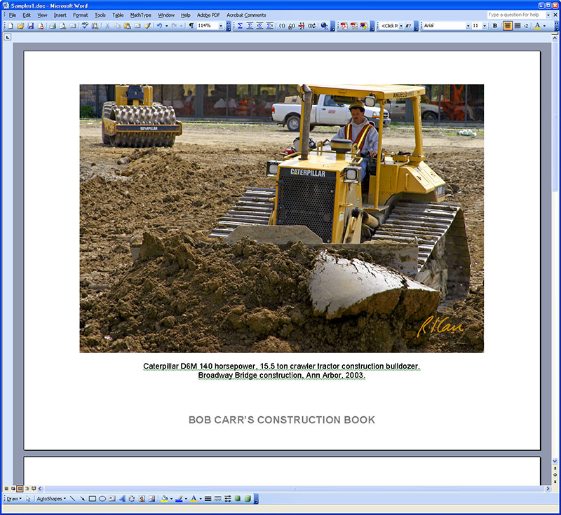 "Generally, a .jpg photo file (as are all from SmugMug) is best inserted into some type of publishing software for printing. This allows formatting and adding caption information from photo and making other custom changes. I use Microsoft Word, which I use to do a lot of my work. Here I have pasted into Word the original .jpg photo file I downloaded. I separately copied from MyConstructionPhotos and pasted into MS Word the photo's caption from the SmugMug site. I added a footer ""BOB CARR'S CONSTRUCTION BOOK"", common to all pages."