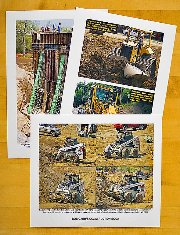 To make a Construction Photo Book, you first need construction photos. The most straightforward way, if you have access to a decent color inkjet printer, is to download photo .jpg files from MyConstructionPhotos and print them on inkjet photo printing paper, as was done here. Captions can be printed on the photos or beneath/beside them.