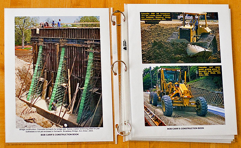Slip the captioned photos into good clear plastic sleeves, connect with rings or put in loose-leaf ring binder, and you have produced a unique, beautiful book of construction photos that will also stand up to many, many readings.<br /> <br /> Get clear presentation sleeves, rings, and ring binders at an office supplies store, such as Office Depot, Office Max, or Staples.