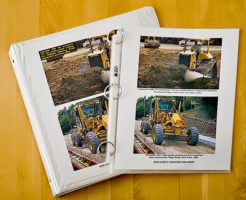 This web site provides high quality construction photos for making books of construction photos. An easy way to make tough, high quality, durable, flexible photo books is to print photos, put them in transparent plastic sleeves, and bind them in a loose-leaf ring binder or with binder rings, as shown here.