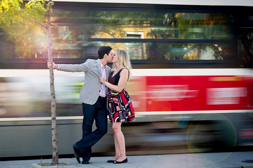 Kissing at the street car stop
