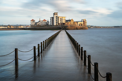 Marine Lake Walkway. Weston Super Mare, at high tide.
