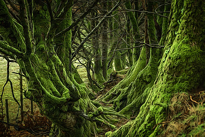 Mature Beech hedgerow on Exmoor. Given an artistic effect.