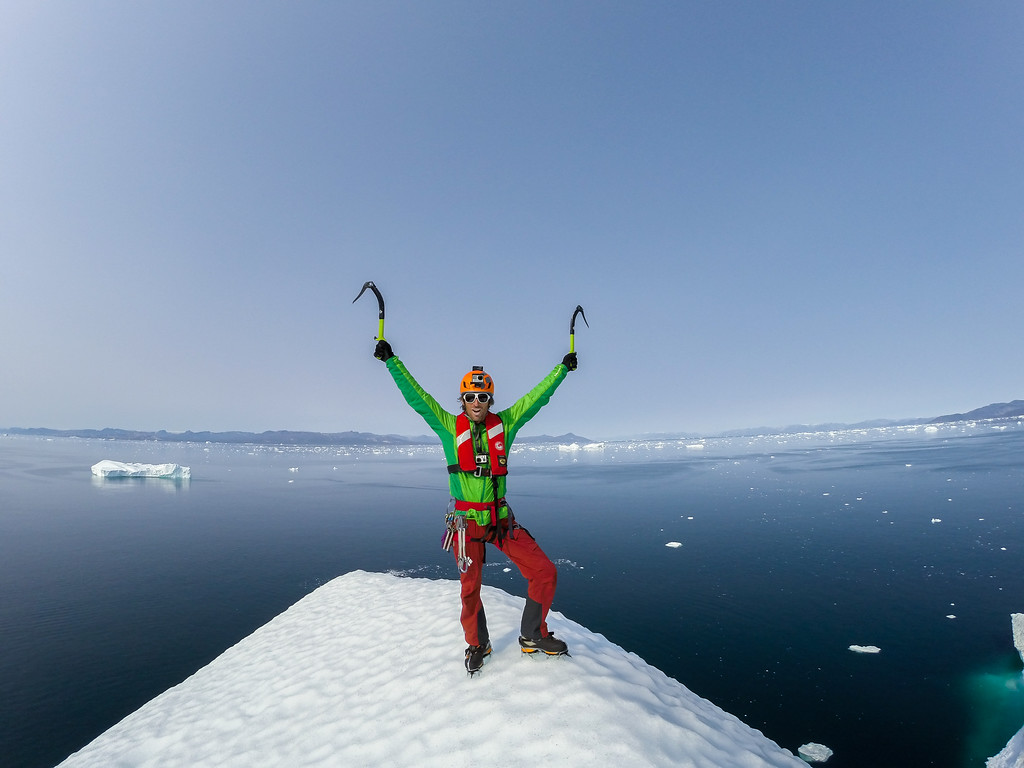 Klemen Premrl on top of the Ice berg, Disco bay, West coast of Greenland, © GoPro
