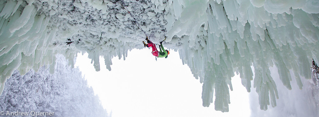 Klemen Premrl climbing Wolverine WI 11, the hardest ice climb in the world and the first of its grade in Wells Gray Provincial Park, British Columbia, Canada, with Tim Emmett. <br /> Photo: Andrew Querner