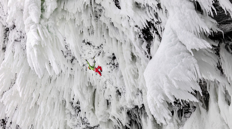 Klemen Premrl climbing Wolverine WI 11, the hardest ice climb in the world and the first one of its grade. Helmcken Falls, Wells Gray Provincial Park, Canada, BC<br /> © Wiktor Skupinski