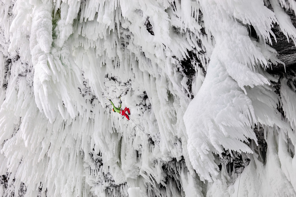 Klemen Premrl climbing Wolverine WI 11, the hardest ice climb in the world and the first of its grade in Wells Gray Provincial Park, British Columbia, Canada, with Tim Emmett. <br /> Photo: Wiktor Skupinski