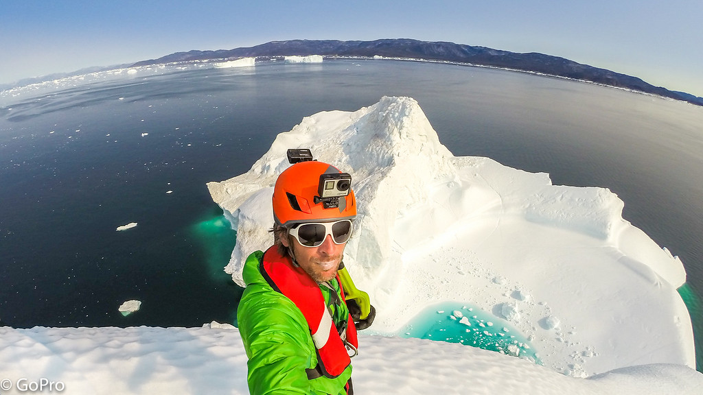 Klemen Premrl, on top of the Iceberg, Disco Bay, West coast of Greenland, © GoPro