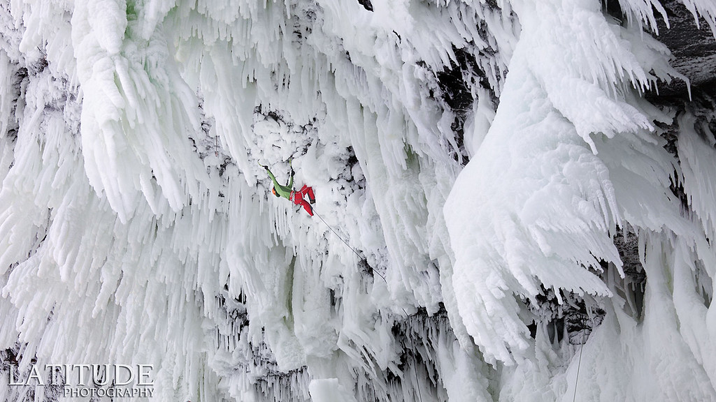 Klemen Premrl, first ascent of Wolverine WI 11, the hardest ice climb and the only one of its grade.
