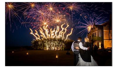 Wedding fireworks at Fawsley Hall