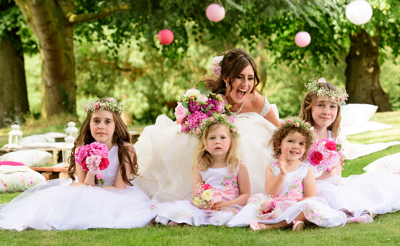 Bride and Bridesmaids haivng fun