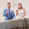 The bride and Groom toss coins