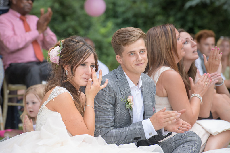 a tear of joy from the bride during the wedding speaches