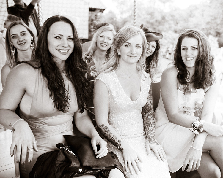 Bride and guests on the carousel