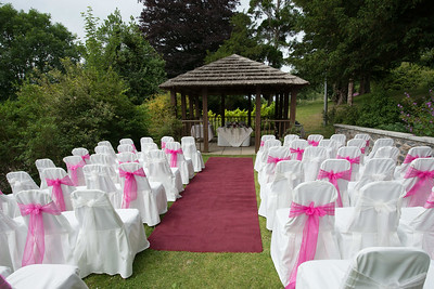 an outdoor wedding setting
