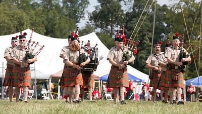 Bagpipe Band closing the Clan Parade