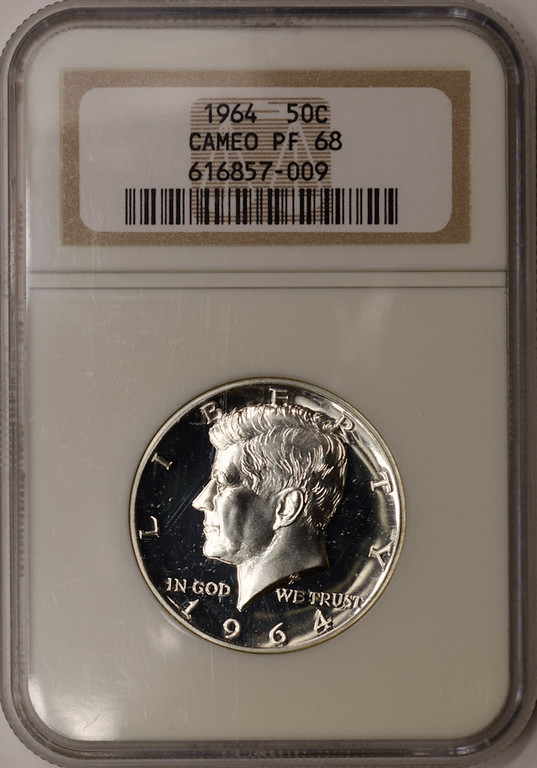 1964 KENNEDY PROOF HALF DOLLAR OBVERSE SLAB