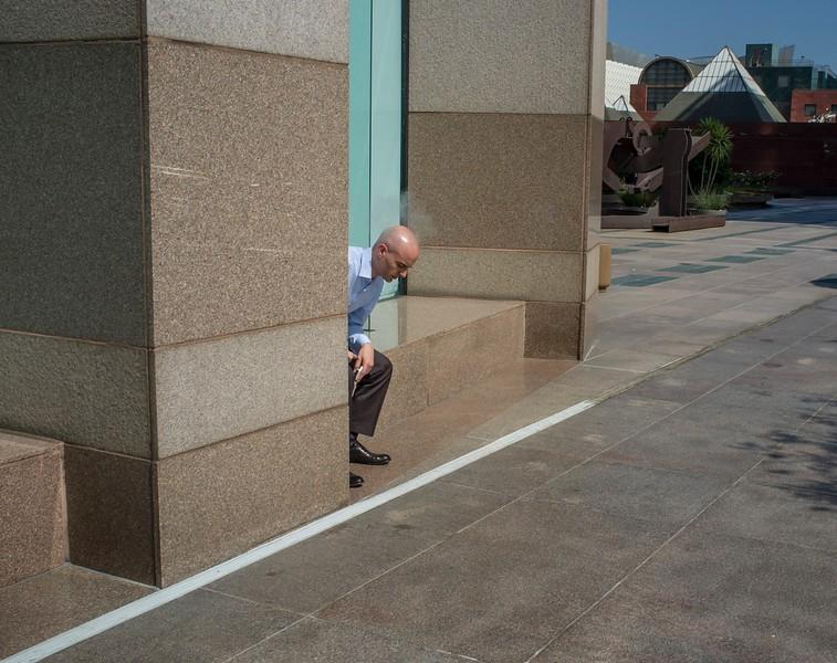 A man at the  MOCA Museum, Los Angeles