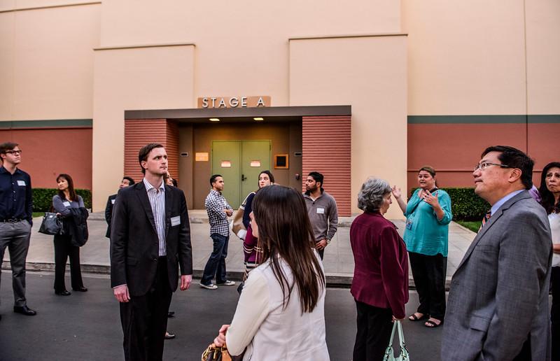 A tour group at the Disney Studios backlot