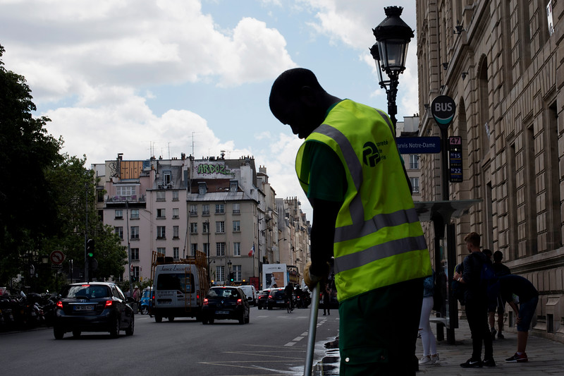 A Street Sweeper in Paris France.