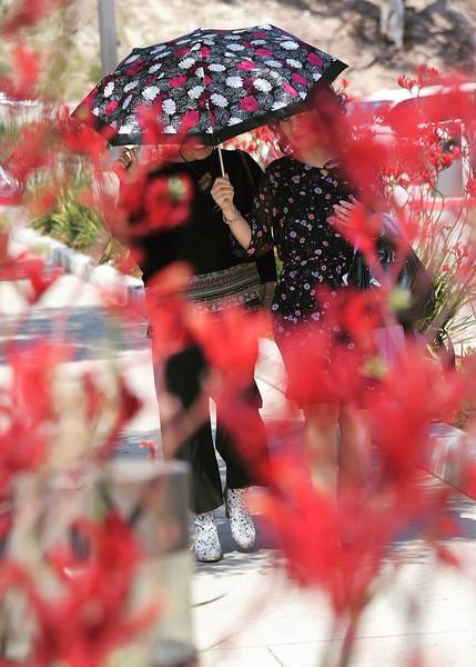 Two women walking with an umbrella in Malibu California.