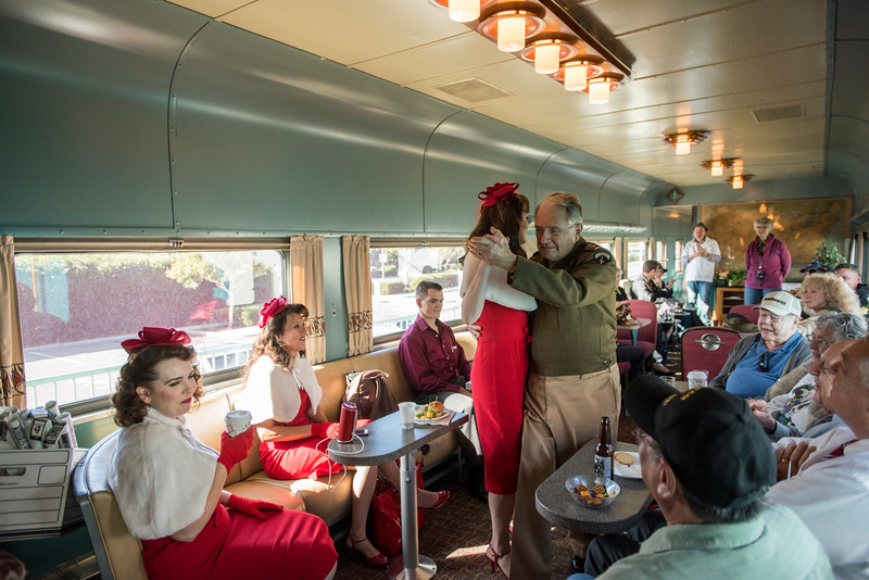 Aboard theTroop Train in a 1940's passenger car transporting WW2 veterans on a trip to San Diego and back to Commemorate the D-day invasion.