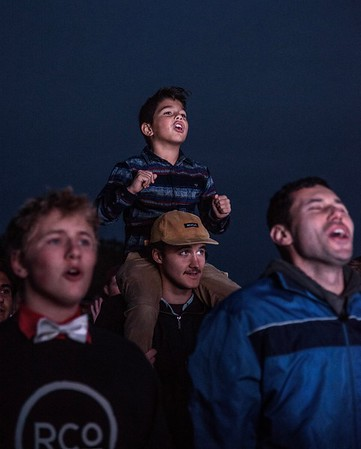 A young boy at a concert in the park
