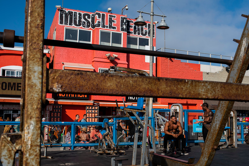 Two men at Muscle Beach in Venice, CA.