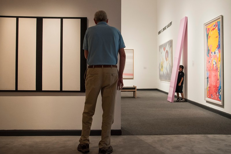 Man and Boy in a gallery in Malibu California.