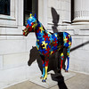 Gigsaw puzzle horse ...again great use of primary colors.
