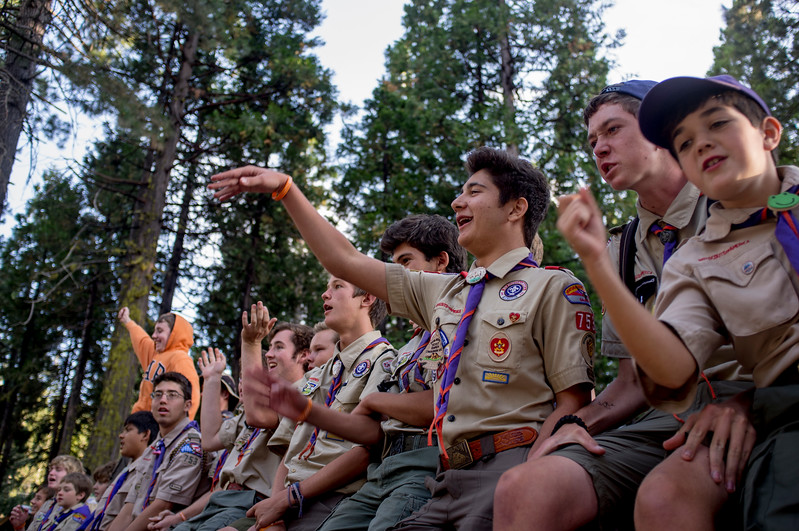 Boy Scouts at camp rally.