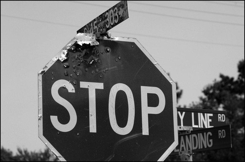 Stop sign on County Line Road, South Carolina