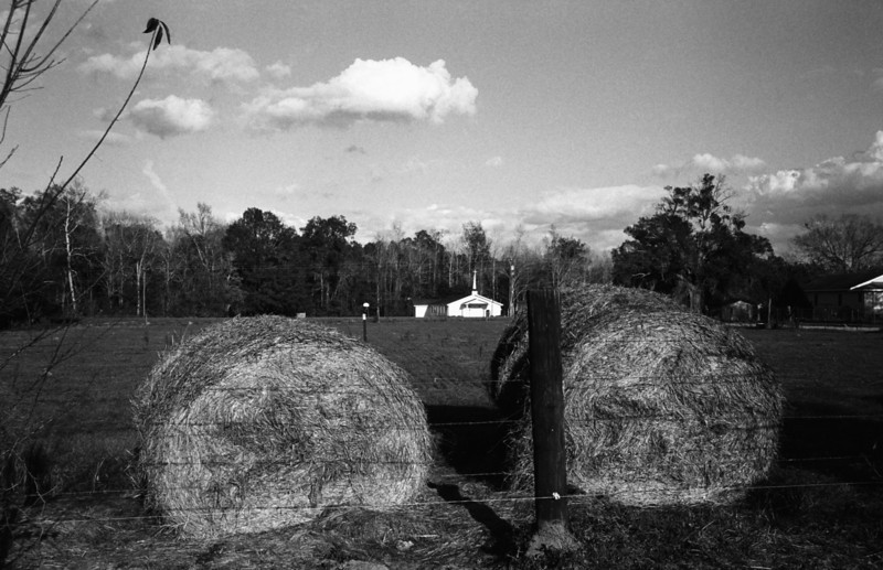 Hay Bails and a church, Andrews S. Carolina