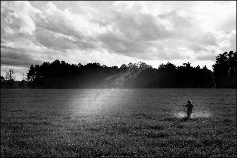 Boy in a field kicking up dust, South Carolina.