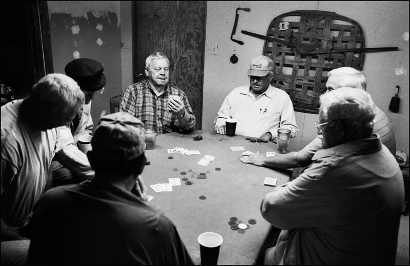 Farmers playing cards in a private mens club, Hemingway, South Carolina.