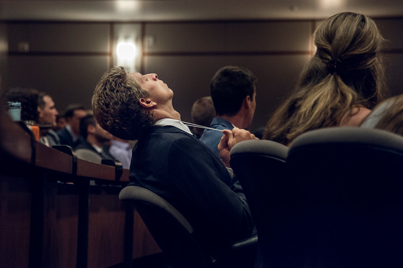 A student expresses his stress during his first week of Law School.