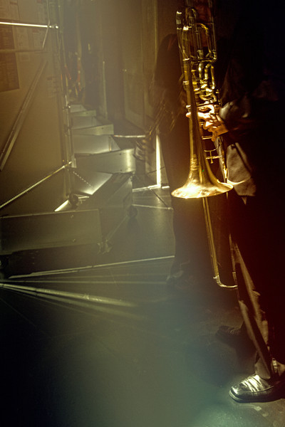 Backstage at the Jazz club.