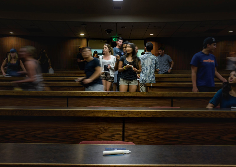 Ron Hall | Students entering auditorium for a presentation