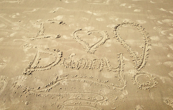 I Love Danny ~ Sand Writing!