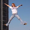 No don't really jump ~ Senior portrait hanging off the side of a silo!