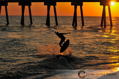 Skimboarder at Sunset in Panama City Beach