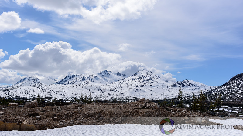 Snow-capped mountains and a snowfield along the Yukon and White Pass Railroad.