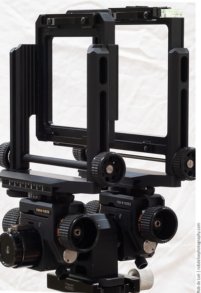 The front standard accepts 110mm x 110mm Toyo lens boards for the Toyo Field 45A series cameras (and others, e.g., 23G). The rear standard has an opening specific to the VX23D. It accepts adapter boards for various medium format backs. I built a custom board to mount my GFX 50R (see below).