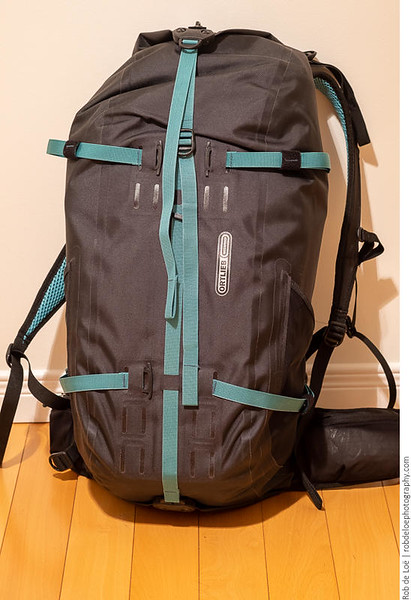 Medium format camera systems are not light! I work in the field, so a good transport system is essential. This is an Ortlieb Atrack 35 litre pack, an excellent, fully waterproof hiking day pack.