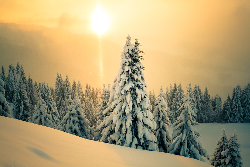 First sun after heavy snow fall in the French Alps