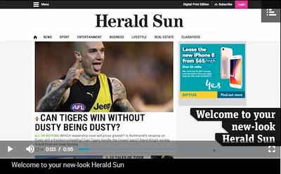 Sample picture of reimagined Herald Sun website