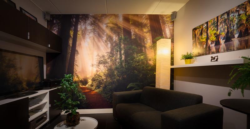 Airtex fotobehang op werkkamer