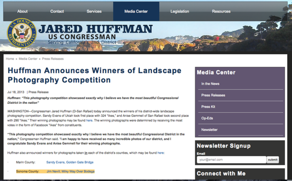 Congressman Huffman Photo Competition 1st Place, Sonoma County Category
