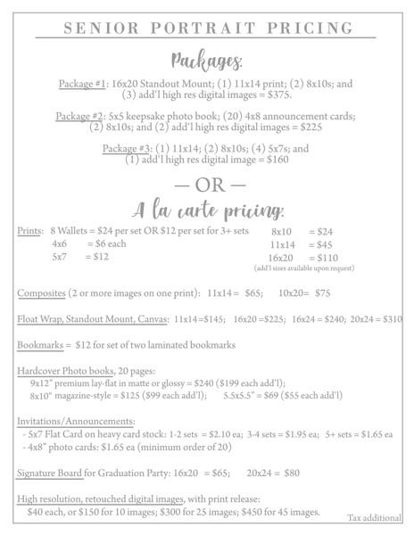 Senior Price List